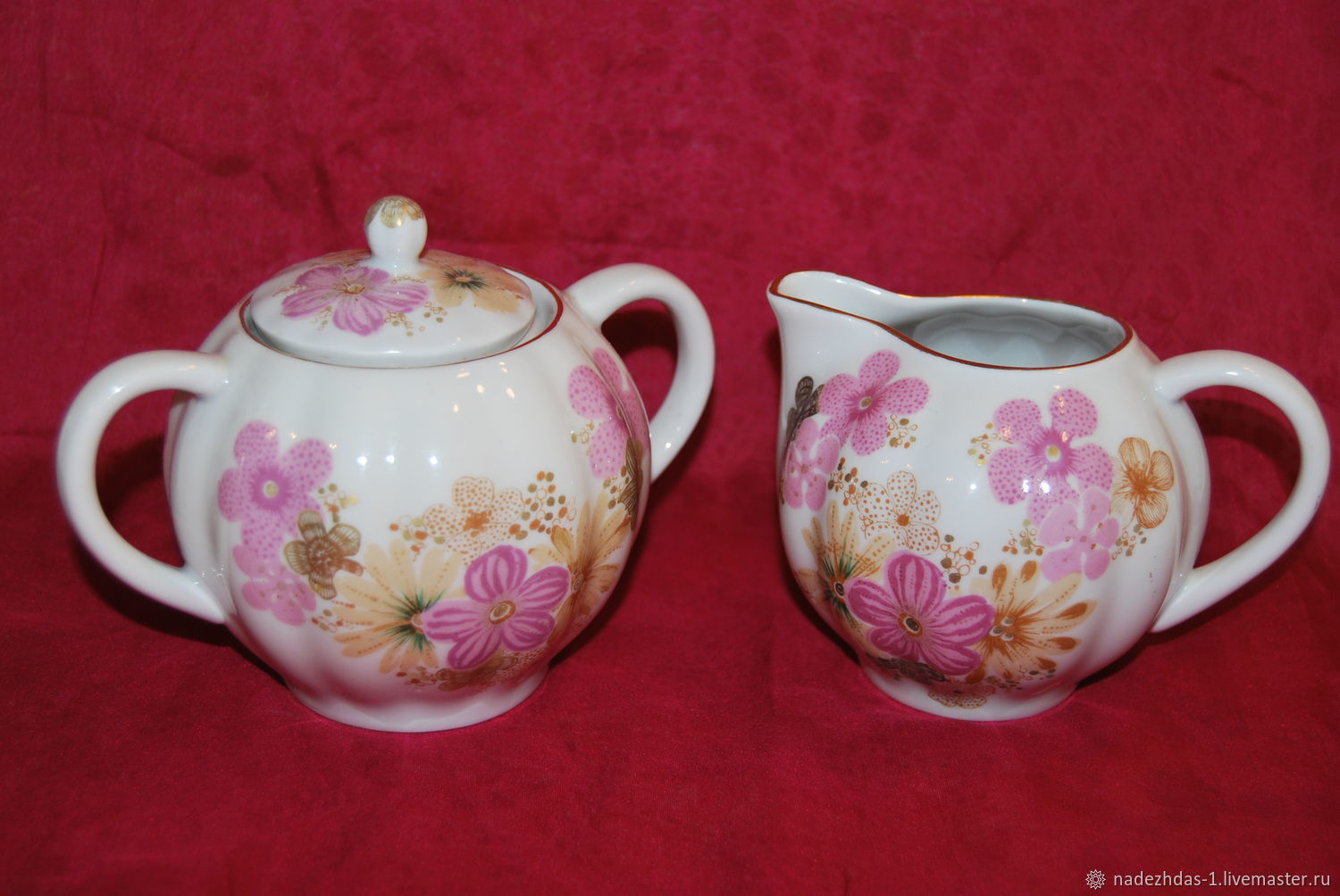 Service ' Gift to a woman'. Milk jug and sugar bowl. LFZ, Vintage sets, Moscow,  Фото №1