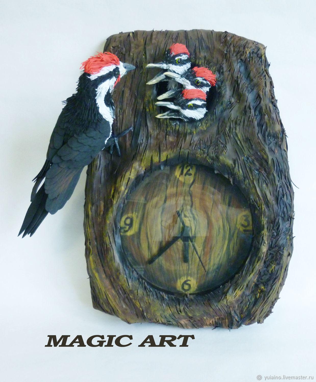 Часы: Дятел с птенцами, Часы классические, Набережные Челны,  Фото №1