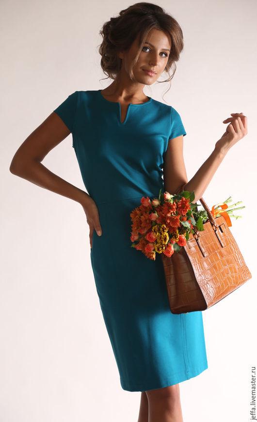 Платья ручной работы. Ярмарка Мастеров - ручная работа. Купить Платье из джерси арт.5365. Handmade. Оливковый, офисный стиль