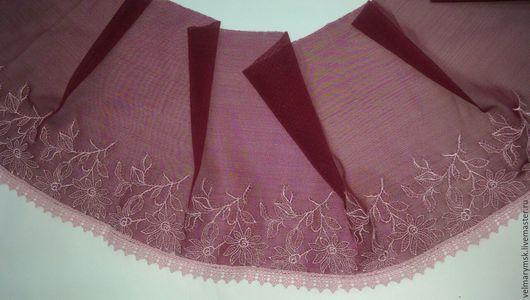 Аппликации, вставки, отделка ручной работы. Ярмарка Мастеров - ручная работа. Купить вышивка на сетке  Mil-40 бордо/розового цвета. Handmade.