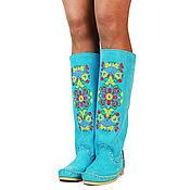 Обувь ручной работы handmade. Livemaster - original item Suede boots (spring-summer 18) DESIDERIO turquoise. Handmade.