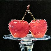 Картины и панно handmade. Livemaster - original item Oil painting cherry cherries glass on a black background hyperrealism at hol. Handmade.