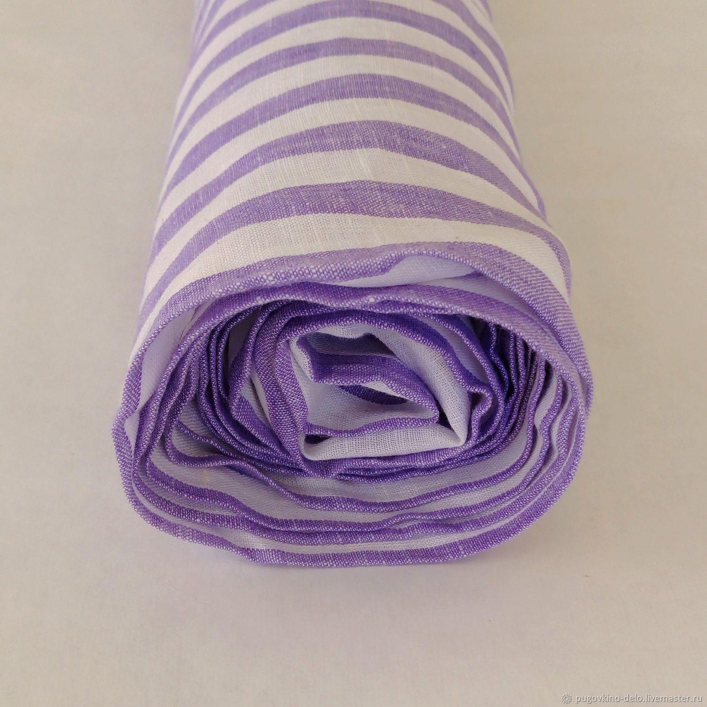 100% Belarusian magpie linen lilac stripe, Fabric, Kemerovo,  Фото №1