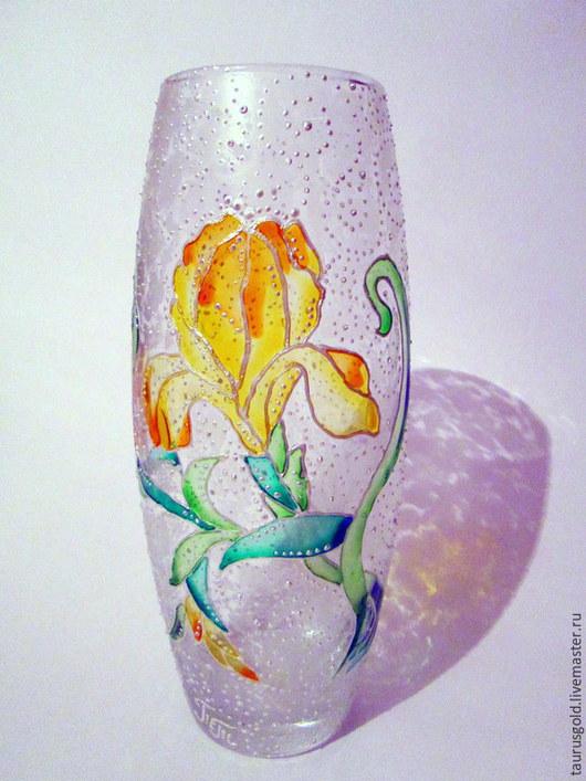 """Вазы ручной работы. Ярмарка Мастеров - ручная работа. Купить Ваза """"Солнечный ирис"""". Handmade. Ваза для цветов, витражные краски"""
