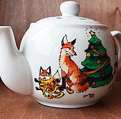 Подарки к праздникам ручной работы. Ярмарка Мастеров - ручная работа Новогодний лисий чайник (0768). Handmade.
