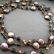 Украшения handmade. Livemaster - original item Necklace with pendant POLONIES of pearl and Topaz. Handmade.