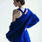 Одежда ручной работы. Ярмарка Мастеров - ручная работа Синий вязаный кардиган. Handmade.