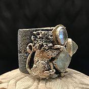 Украшения handmade. Livemaster - original item Wide ring lion. Silver, gold, tourmaline, aquamarine, beryl. Handmade.