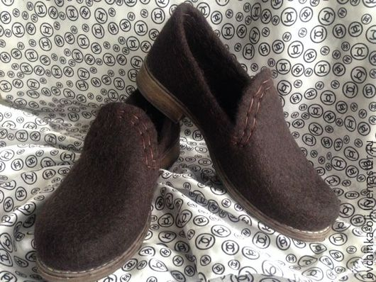 Обувь ручной работы. Ярмарка Мастеров - ручная работа. Купить Мокасины валяные. Handmade. Коричневый, туфли валяные, обувь