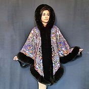 Одежда handmade. Livemaster - original item Poncho from the Pavlovsky Posad shawl
