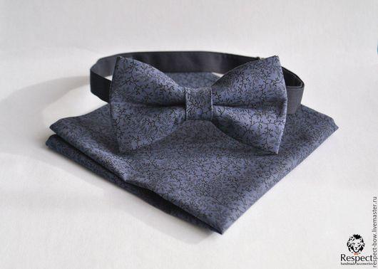 Галстуки, бабочки ручной работы. Ярмарка Мастеров - ручная работа. Купить Серо синяя галстук бабочка Стиляга + нагрудный платок паше на выбор. Handmade.