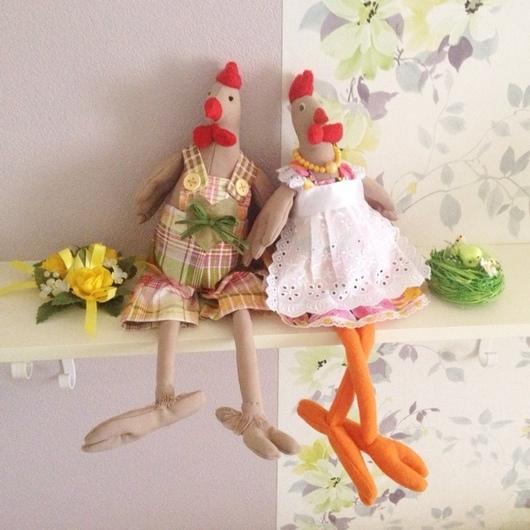 Подарки на Пасху ручной работы. Ярмарка Мастеров - ручная работа. Купить Курочка и петух - куклы в стиле Тильда. Handmade. петух