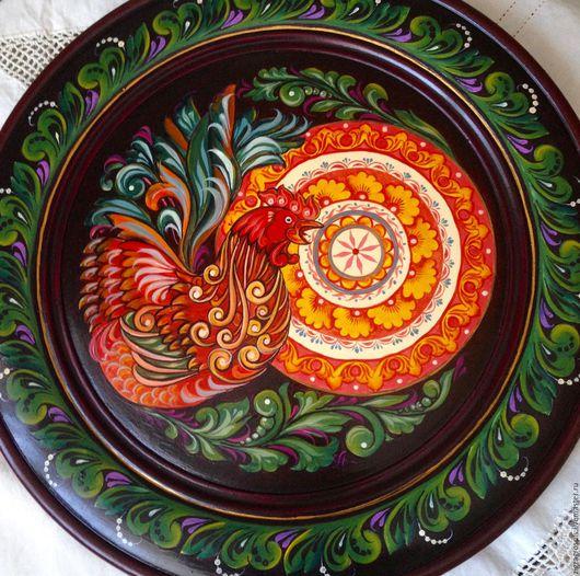 Новый год 2017 ручной работы. Ярмарка Мастеров - ручная работа. Купить Тарелка декоративная деревянная Приветствие солнца. Handmade.