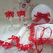 Свадебный салон ручной работы. Ярмарка Мастеров - ручная работа Свадебный комплект Красные кружева. Handmade.