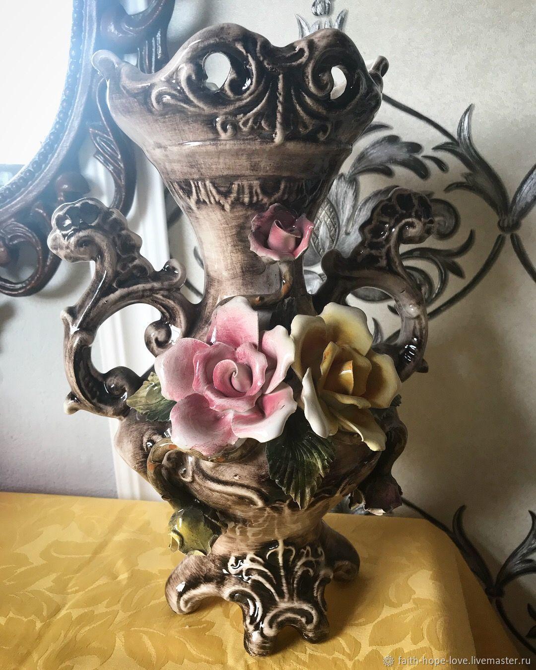 Divinely vain. Flower Vase by Capodimonte Italy, Vintage interior, Vladivostok,  Фото №1
