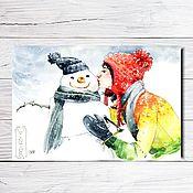 """Открытки ручной работы. Ярмарка Мастеров - ручная работа Открытка для посткроссинга """"Снеговик"""". Handmade."""
