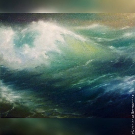 """Пейзаж ручной работы. Ярмарка Мастеров - ручная работа. Купить """"Волны"""". Handmade. Бирюзовый, картина, картина маслом, морская волна"""