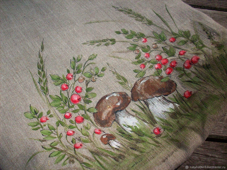 Linen bag with hand-painted Mushroom time eco-Bag shopper, Shopper, Shuya,  Фото №1