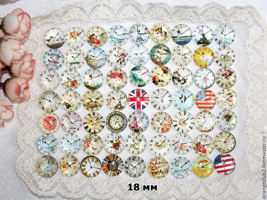 Куклы и игрушки ручной работы. Ярмарка Мастеров - ручная работа. Купить 18 мм Стеклянные кабошоны часы. Handmade.
