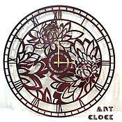 """Для дома и интерьера handmade. Livemaster - original item Настенные часы """"Пионы"""" из дерева 60 см. Handmade."""