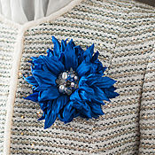 """Украшения ручной работы. Ярмарка Мастеров - ручная работа Синий брошь цветок с жемчугом """"Агамея"""". Handmade."""