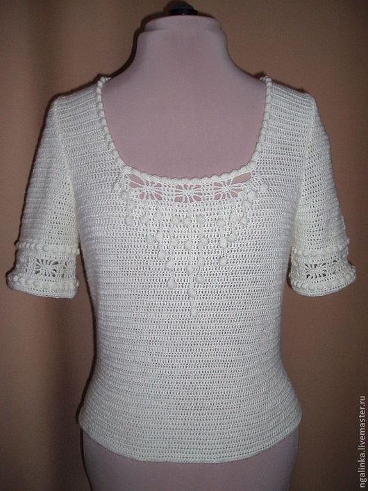 Топы ручной работы. Ярмарка Мастеров - ручная работа. Купить блузка из хлопка Топленое Молоко. Handmade. Белый, Вязание крючком