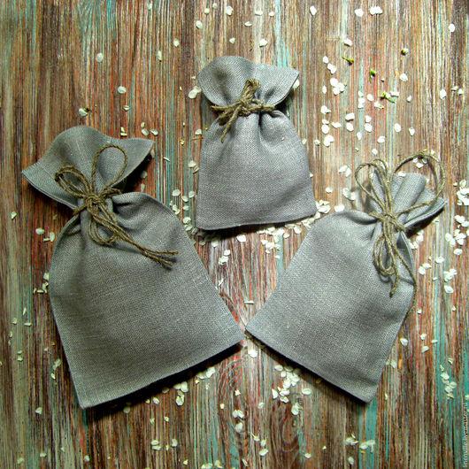 Упаковка ручной работы. Ярмарка Мастеров - ручная работа. Купить Холщовые мешочки. Handmade. Серый, изо льна, мешочки, эко