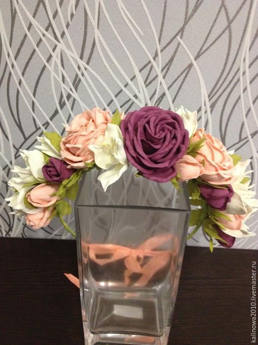 Цветы ручной работы. Ярмарка Мастеров - ручная работа. Купить Венок с розами. Handmade. Разноцветный, венок на голову, венок для фотосессии