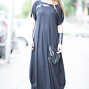 Одежда handmade. Livemaster - original item Extravagant dress with leather elements - DR0265TR. Handmade.