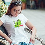 Футболки ручной работы. Ярмарка Мастеров - ручная работа Футболка женская Сочное яблоко. Handmade.