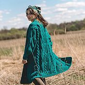 handmade. Livemaster - original item cardigans: Women`s knitted cardigan oversize in the color emerald. Handmade.