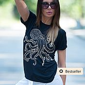 Одежда handmade. Livemaster - original item Black cotton t-shirt with a picture of an octopus -TP0705TR. Handmade.