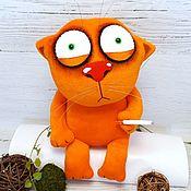 Куклы и игрушки handmade. Livemaster - original item can`t sleep.. Plush soft toy ginger cat with a cigarette. Handmade.