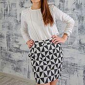 Одежда ручной работы. Ярмарка Мастеров - ручная работа Юбка из джинсовой ткани Чёрно-белые треугольники. Handmade.