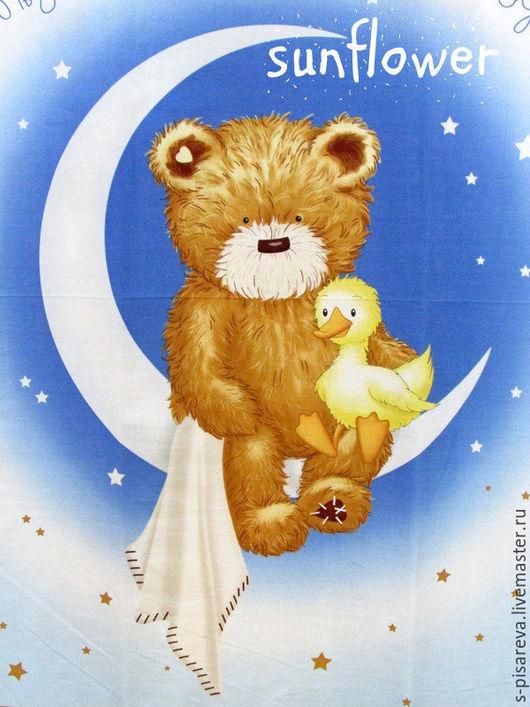 """Шитье ручной работы. Ярмарка Мастеров - ручная работа. Купить Панель """"Мишка на луне"""".. Handmade. Голубой, одеяло пэчворк, одеяло"""