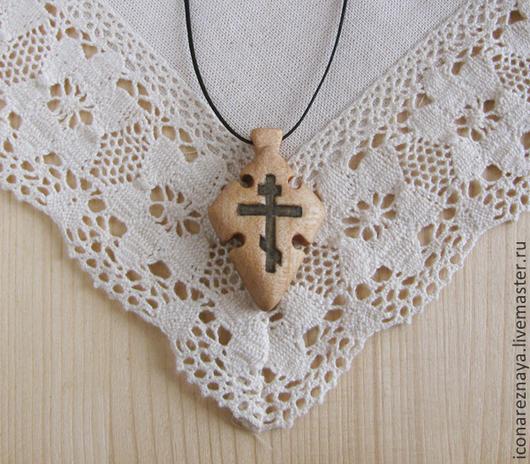 `Душа` - деревянный нательный крест из кипариса
