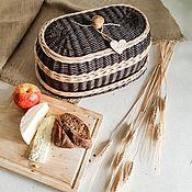 Хлебницы ручной работы. Ярмарка Мастеров - ручная работа Плетеная хлебница овальная с глубокой крышкой. Handmade.