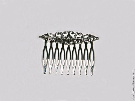 Другие виды рукоделия ручной работы. Ярмарка Мастеров - ручная работа. Купить Гребень для волос ажурный серебристый основа. Handmade.