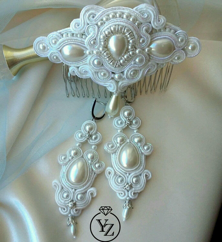 ee22bb8c8 RosePearlStudio ( · Wedding Jewelry handmade. Order Wedding jewelry set, long  soutache earrings and comb. RosePearlStudio