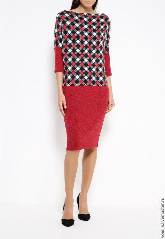 Теплое зимнее платье-трансформер, платье длиной до колен свободного кроя, комфортное, нарядное, на каждый день и на выход
