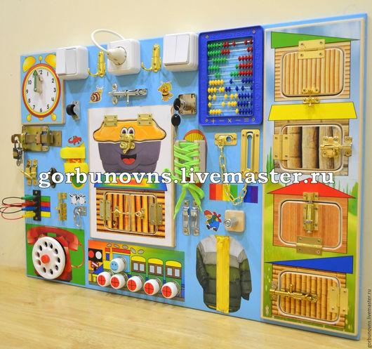 """Развивающие игрушки ручной работы. Ярмарка Мастеров - ручная работа. Купить Развивающий Цветной Модуль """"УНИВЕРСАЛЬНЫЙ ТРЕНАЖЁР"""" + 4 Дверцы. Handmade."""