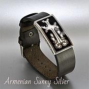 Украшения handmade. Livemaster - original item Regaliz bracelet: leather with an insert made of 925 sterling silver AS0011. Handmade.