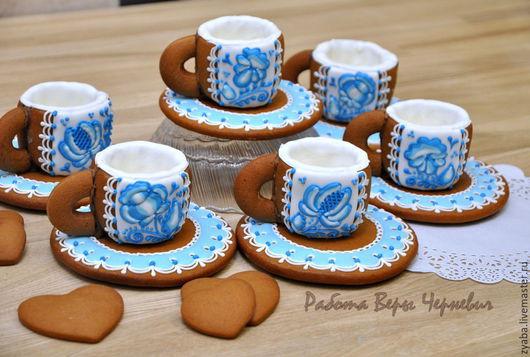 """Кулинарные сувениры ручной работы. Ярмарка Мастеров - ручная работа. Купить """"Гжель"""" пряничные чашечки для кофе или чая с блюдцами. Handmade."""
