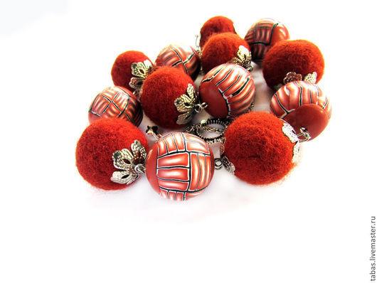 Колье, бусы ручной работы. Ярмарка Мастеров - ручная работа. Купить бусы длинные Шоколад, бусы из полимерной глины, бусы валяные. Handmade.