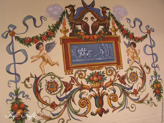 Декор поверхностей ручной работы. Ярмарка Мастеров - ручная работа. Купить Роспись стен. Handmade. Бежевый, роспись стен и потолков
