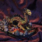 Куклы и игрушки ручной работы. Ярмарка Мастеров - ручная работа Лавовый дракон интерьерное украшение ночник. Handmade.