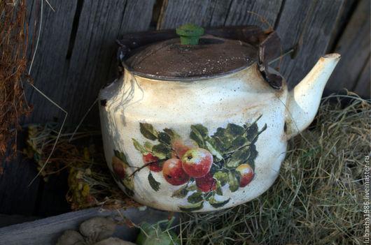 """Чайники, кофейники ручной работы. Ярмарка Мастеров - ручная работа. Купить """"Ветка яблони"""" старинный чайник в стиле Кантри. Handmade."""