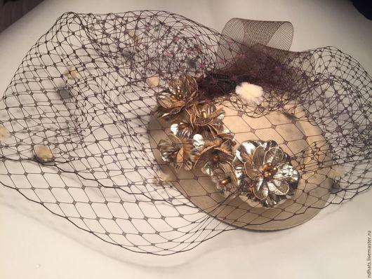 Шляпы ручной работы. Ярмарка Мастеров - ручная работа. Купить NежDи:Винтажное золото. Handmade. Шляпка женская, вуалетка невесты, винтаж