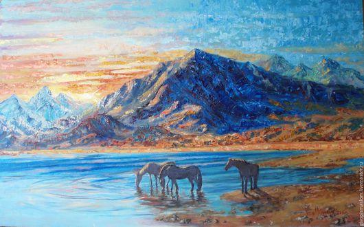 """Пейзаж ручной работы. Ярмарка Мастеров - ручная работа. Купить """"Закат в синих горах"""" 80х50 масло, оргалит. Handmade. Синий"""
