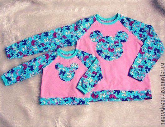 Одежда для девочек, ручной работы. Ярмарка Мастеров - ручная работа. Купить Свитшоты для мамы и дочки. Handmade. Розовый, фемили лук